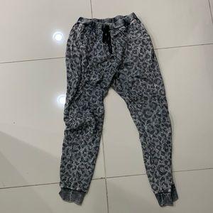 Grey Leopard Joggers Sweat Pants - Large